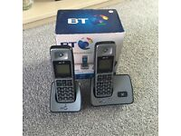 BT 2000 twin home cordless phones with 6 rechargeable batteries