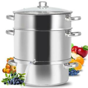 11-Quart Stainless Steel Fruit Juicer Steamer Stove Top w/ Tempered Glass Lid - BRAND NEW - FREE SHIPPING