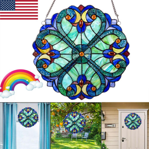 10inch Vintage Style Colorful Stained Glass Window Panel Suncatcher Garden US