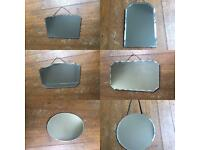 Collection of 6x Frameless Vintage Art Deco Mirrors 1950's 1960's Retro