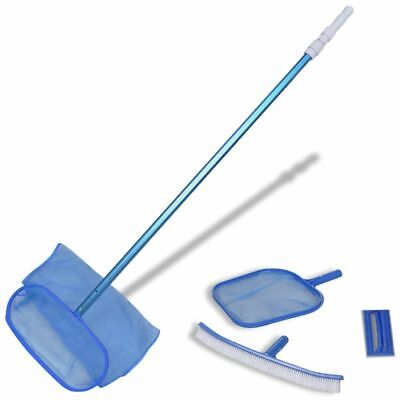 vidaXL Pool Cleaning Set Brush 2 Leaf Skimmers 1 Telescopic Pole Scrubber