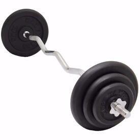 EZ Curl Bar Weight Set Weight Training Cast Iron Weight Plates From £27