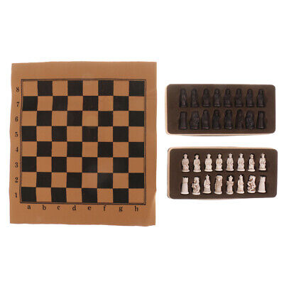 MagiDeal Chinese Ancient Figurines Pieces Chess Set w/ Foldable Chessboard Ancient Chinese Chess