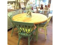 Pine dining table 4 chairs