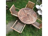 Teak garden table 4 chairs