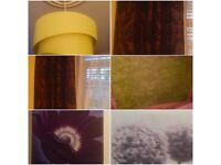 Large Rug, Ceiling light, 2 pictures, pair of curtains