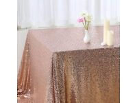 Rose gold copper sequin wedding tablecloth
