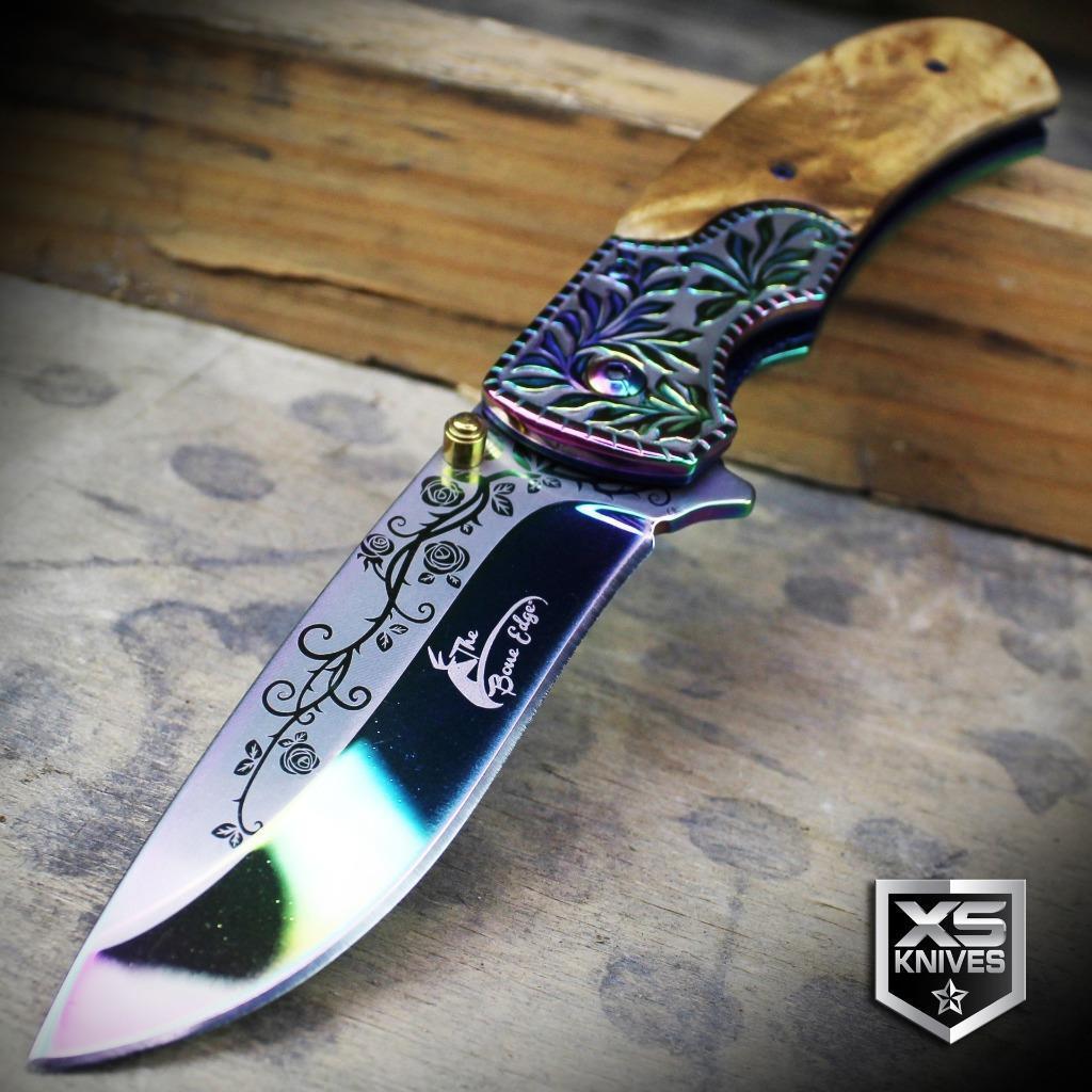 WESTERN Ornate WOOD HANDLE Cowboy Spring Assisted Pocket Knife GOLDEN Blade