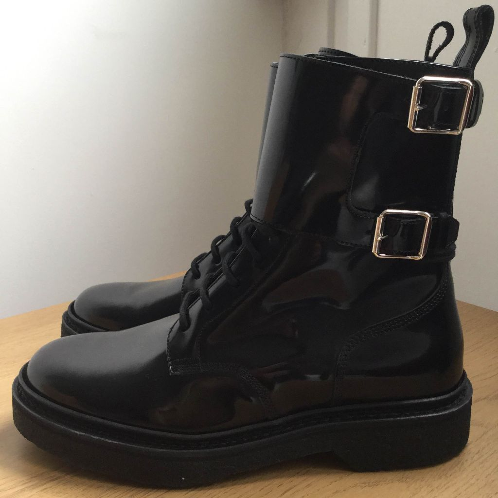 s balmain for h m black leather boots shoes size 7