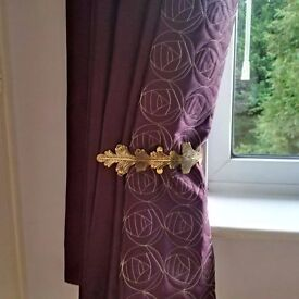 Two pairs of Dunelm purple curtains