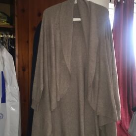 Beige Drape front coat. One size only. Fits all worn only once. £25