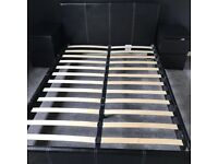 Faux black leather double bed frame