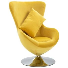 Swivel Egg Chair with Cushion Yellow Velvet-248527