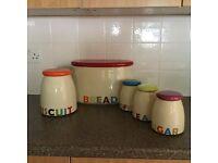 Glazed pottery tea/coffee/sugar/cookie jars
