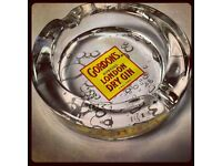 BOX of 6 - Gordon's Gin Vintage Label Glass Ashtrays - Collectables !