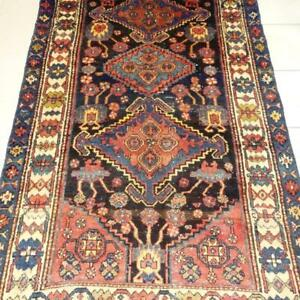 Hamedan Semi-Antique Persian Rug, Handmade Carpet, Wool, Beige, Blue, Orange, Yellow, Navy Blue and Black
