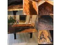 Olive wood black/bronze epoxy coffee table