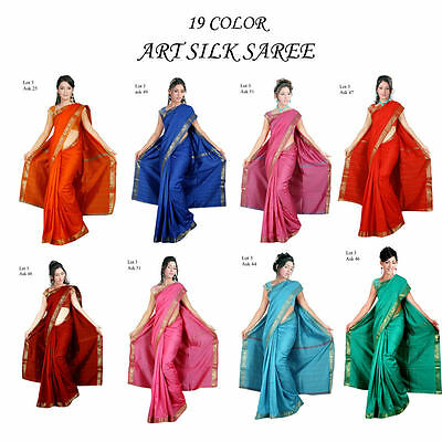 NEW Indian Traditional women wear Art Silk Sari Saree Curtain Drape Craft Fabric - India Silk Sarees