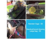 Hamster Cage and large bag wood shavings