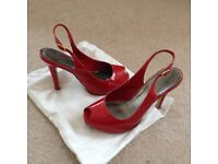 Ladies red patent shoes - 4 inch heel, sling back with small hidden platform size 4 UK. EU - 37