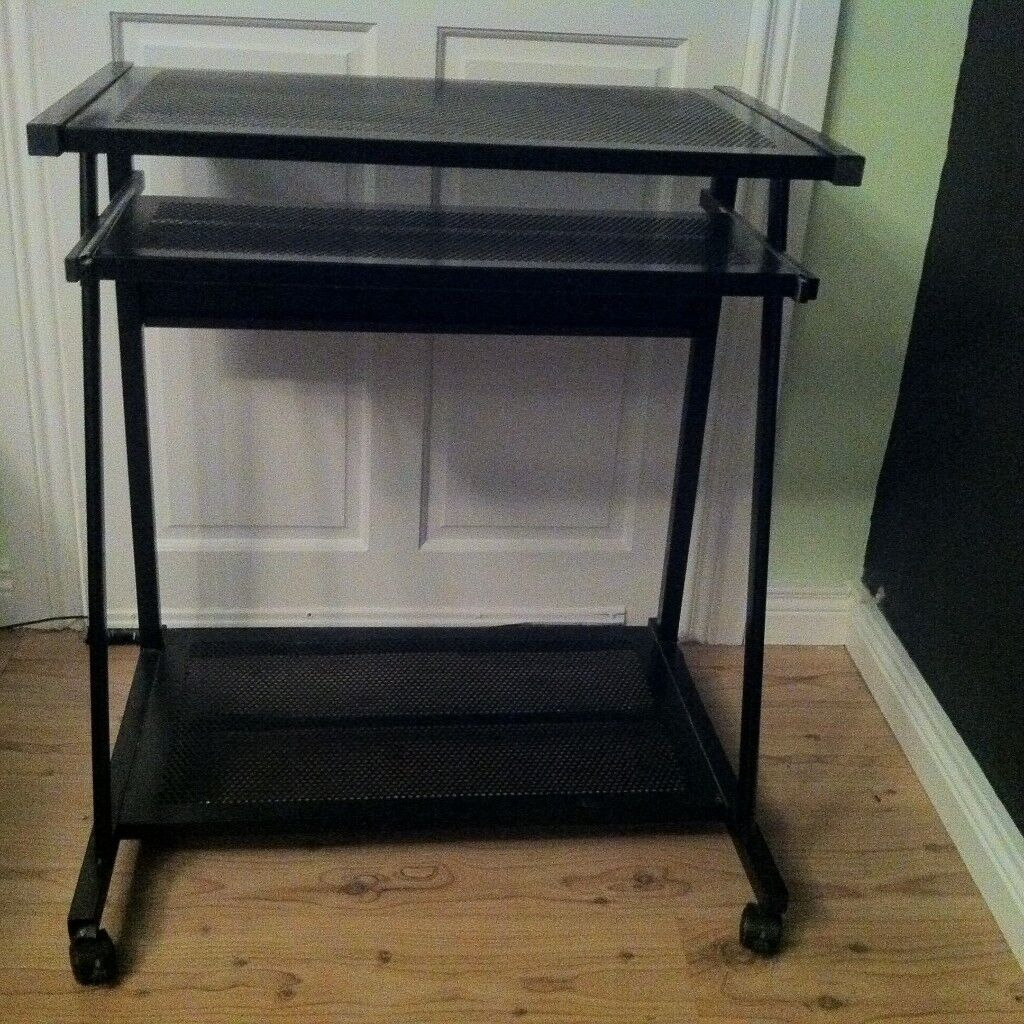 Black Metal Computer Desk Trolley