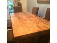 Solid Wood Rustic Dining Table and 6 Chairs for sale