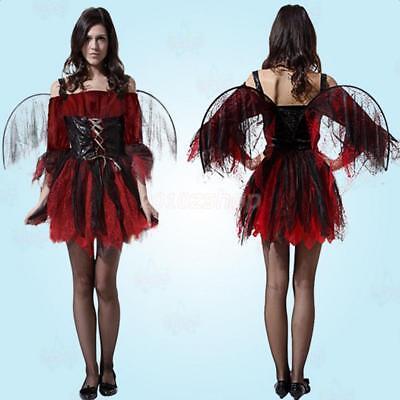 Fee Elfe Halloween-kostüme (Feen Elfen Fledermaus Märchen Kostüm Kleidung Damen für Karneval Halloween)