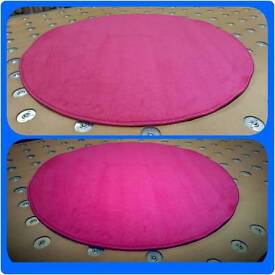 New 4'6ft bright pink rug round