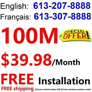Unlimited 100M internet $39.98/month , Rogers cable covered area only. Please call 613-207-8888 or 613-307-8888 to order