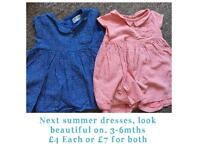 Next dresses 3-6 mths dungarees shorts