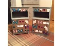 Bedside Cabinets Handpainted - Sold