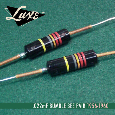 LUXE Bumble Bee Capacitors 1956-60 Matched Pair of Oil-Filled .022mF Bumble Bee