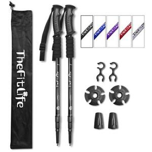 NEW TheFitLife Nordic Walking Trekking Poles - 2 Packs With Antishock And Quick Lock System,
