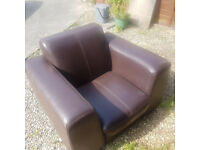 FREE - Brown Leath Armchair, comfy chair no longer needed, collection from Gloucester