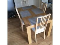 Ikea beech wood Dining table and 4 chairs
