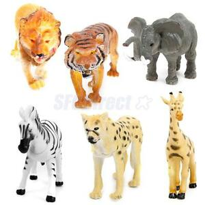 Lot 6 Plastic Wild Animals Zoo Safari Figure Model Zebra Lion Tiger Elephant