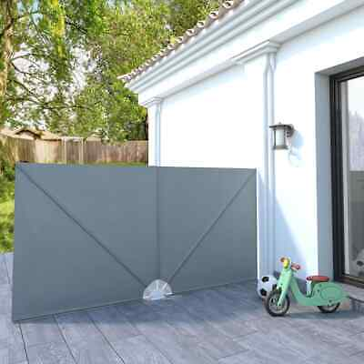 vidaXL Collapsible Terrace Side Awning Grey 300x150cm Privacy Balcony Sunshade