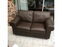 Sofa - brown leather 2 seater