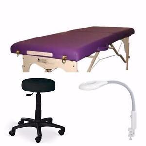 Ensemble table de massage , Lampe loupe et tabouret