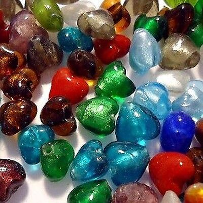 50 pieces Silver Foil Lampwork Glass Beads - K4005 / 20mm Heart Mixed