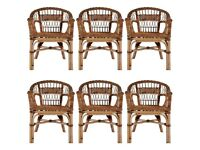 Outdoor Chairs 6 pcs Natural Rattan Brown-275844