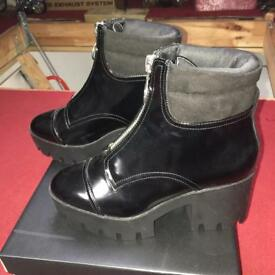 Women's black river island platform boots with zip detail