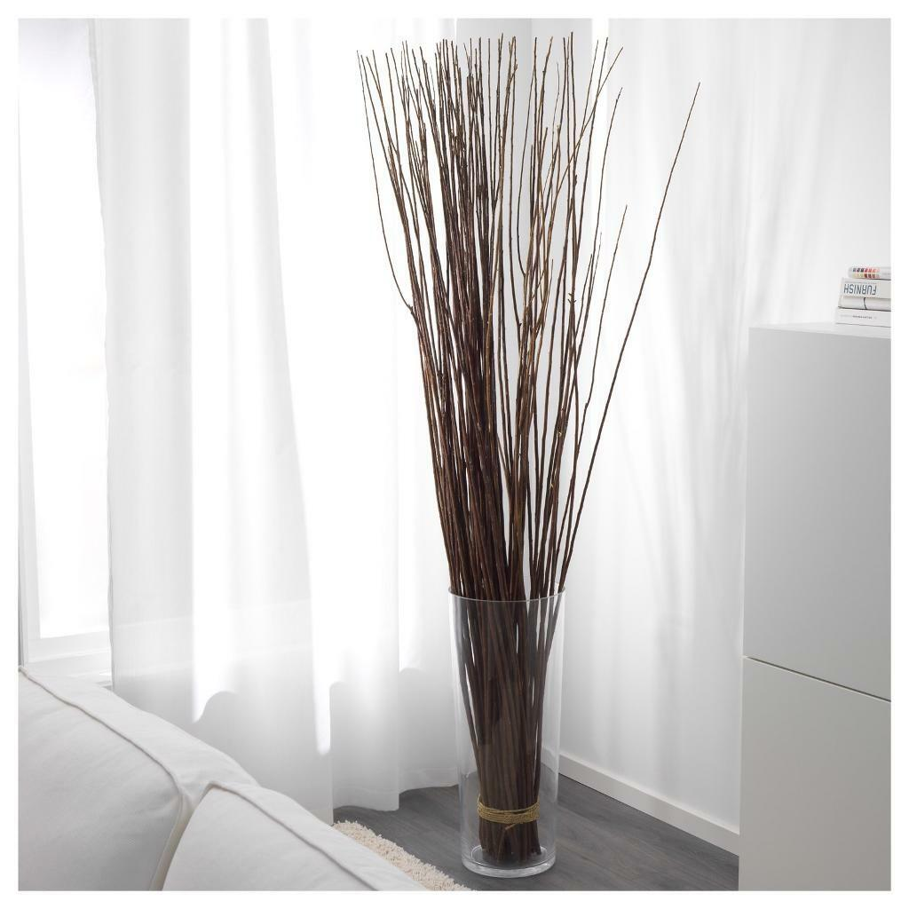 Decorative Ikea Smyka Willow Branches Tied In Glass Vase