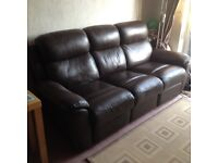 3-seater leather and cloth manual recliner (Dark Brown)
