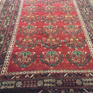 Shiraz Semi-Antique Persian Rug, Handmade Carpet, Wool, Red, Orange, Navy Blue, Beige and Green Size: 11.5 X 8 ft