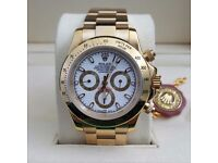Gold ROLEX Gold bezel White Face Comes Rolex Bagged and Boxed with paperwork.