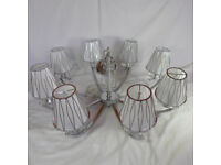 Large Chandelier Ceiling Light, 8 Silver Shades, 8 x 3.8W LED bulbs included