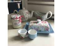 Cath Kidson- Tea Pot, Butter Dish, Gravy Boat, Egg Cups, Candle
