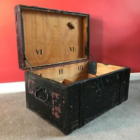 Vintage black wood/iron tunk(Richter & Co Berlin 1940)Royal Army Medical Core.Chest/box/trunk/table