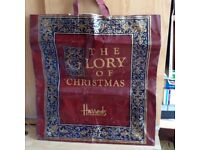 An Extra Large Vintage 1990 Harrod's The Glory of Christmas Carrier Bag